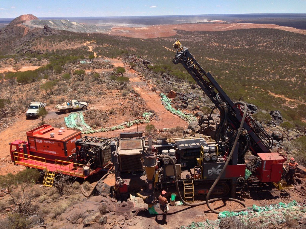 Drilling Rig in the Western Australian outback near Kalgoorlie. Taking samples